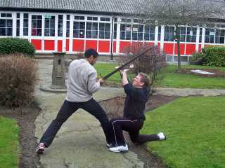 Kev McCurdy demonstrates a fight scene